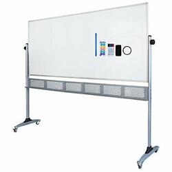 Large Double-sided Magnetic Mobile Whiteboard Rolling Dry Erase Board With Sta
