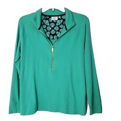 Crown amp; Ivy Beach Women#x27;s Solid Green Half Zip Long Sleeve Pullover Shirt Small $12.96