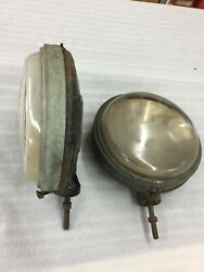 Pair Of 1920and039s Ryan Headlights Vintage Speedster Art Deco Patent 1925 Brass Rims