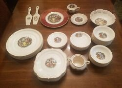 The Harker Pottery Company - 22 K Trimmed China - Colonial Couple - 43 Pieces