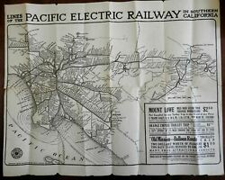 Southern California Pacific Electric Railway 1912 Promotional Map Rail Lines
