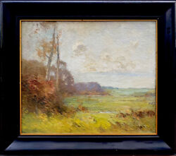 Antique Fernando A. Carter Syracuse Ny Oil On Canvas Pastoral Painting 25x30