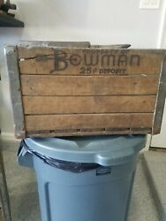 Vintage Wood And Metal Milk Crate Bowman Dairy Chicago Il.