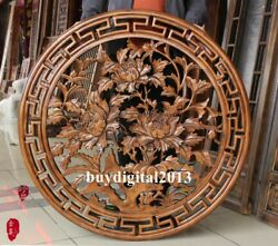 China Camphorwood Auspicious Peony Flower Wall Hanging Wood Tablet Plaque Board