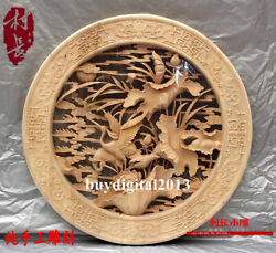Basswood Lucky Lotus Red-crowned Crane Wall Hanging Wood Tablet Plaque Board