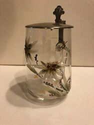 Blown Glass Beer Stein With Lid And Enameled Edelweiss Germanyst103