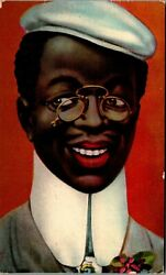 Black Man With Wire-framed Glasses Tall White Collar And Cap Black Americana Rr1