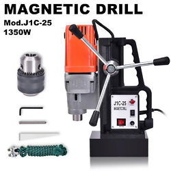 1350w J1c-25 25 Mm Magnetic Base Drill Press Boring 15000n Magnet Force Tapping