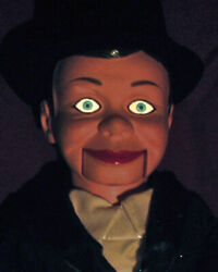 Spooky Ventriloquist Dummy With Glow In The Dark Eyes Doll Creepy Puppet Prop