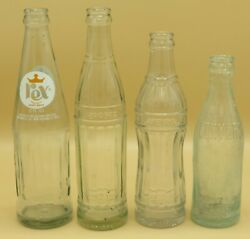 4 Different Coca-cola Products Glass Bottles 1915 1950and039s 1980and039s