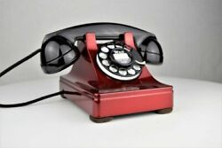 Vintage Original Western Electric 302 Red Chromium Rotary Dial Telephone