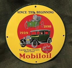 Vintage Style Mobiloil'' 1898 - 1929 Gas And Oil Plate Porcelain Sign 12 In.
