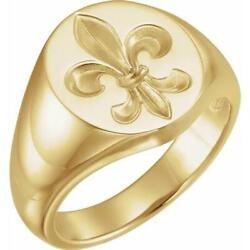 14k Yellow Or White Gold Menand039s Oval Fleur De Lis Signet Ring Closed Back