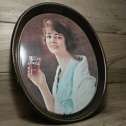 Vintage 15 X 12 Coca-cola Oval Serving Tray Lady Drinking Coke Brown Tin