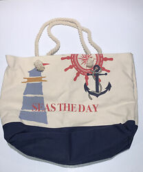 Large Canvas Beach Totes w Inside Pockets. Great Condition $7.00
