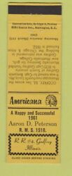 Matchbook Cover - Peterson Match Collector Godfrey Il Perkins Americana Yellow