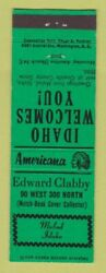 Matchbook Cover - Edward Clabby Match Collector Malad Id Perkins Americana Green