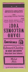 Matchbook Cover - Edward Clabby Match Collector Malad Id Perkins Americana Pink