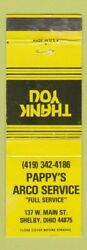 Matchbook Cover - Pappyand039s Arco Service Oil Gas Shelby Oh