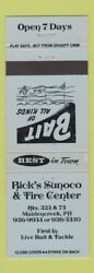 Matchbook Cover - Rickand039s Sunoco Oil Gas Tire Center Maidencreek Pa