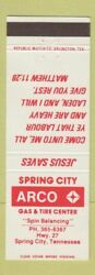 Matchbook Cover - Arco Oil Gas Spring City Tn Christian Bible Verse Jesus