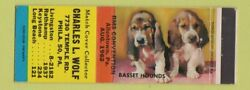 Matchbook Cover Charles Wolf Match Collector Philadelphia Pa 1962 Basset Hounds