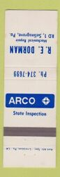 Matchbook Cover - Arco Oil Gas Re Dorman Selinsgrove Pa