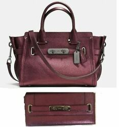 Nwt Coach Swagger 27 Leather Satchel And Clutch Wallet Set - Metallic Cherry