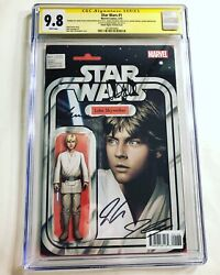 Cgc 9.8 Ss Star Wars 1 Variant Signed By Hamill Cassaday Martin Aaron And Jtc