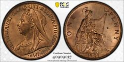 1901 Great Britain Penny Pcgs-ms64-rb. 202826 Pcgs Gold Shield