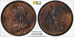 1895 Great Britain Penny Pcgs-ms64-bn. 202804 Pcgs Gold Shield