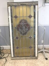 Ship Anchor Slag Nautical Antique Stained Glass Window 34x65 Very Cool Original