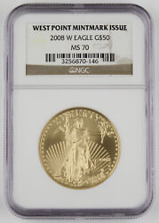 2008 W 50 1 Oz 22k Gold American Eagle Burnished Coin Ngc Ms70 Semi-key Date