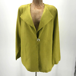 Christopher Calvin Women Single Button Blazer Sz L Lime 100% Linen Langenlook $65.00