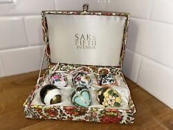 Retired Saks Fifth Avenue Silk Lined Box W/ Hand Painted 6 Easter Egg Ornaments
