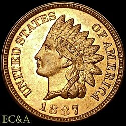 1887 Indian Head Cent Penny Gorgeous Red Uncirculated Gem Ih840