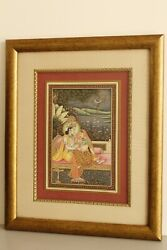 Radha Krishna Miniature Painting Decorated With Original Emerald Ruby And Pearl