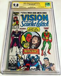 Cgc Ss 9.8 Vision And The Scarlet Witch V2 12 Signed By Bettany, Olsen And Serkis