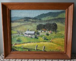 Listed Charles Bell 20 X 24 California Landscape With Ranch Oil On Canvas
