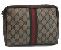 Authentic GUCCI Web Sherry Line Clutch Bag Pouch GG PVC Leather Brown B9133 $120.00