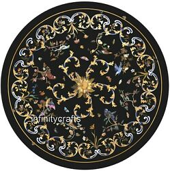 42 X 42 Inches Marble Meeting Table Top With Marquetry Art Patio Dining Table
