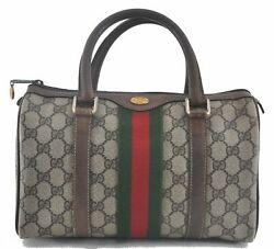 Authentic GUCCI Web Sherry Line Hand Bag GG PVC Leather Brown Beige B9263 $300.00
