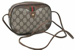 Auth GUCCI Web Sherry Line Shoulder Cross Body Bag GG PVC Leather Brown B9285 $260.00
