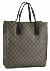 Authentic GUCCI Tote Bag GG PVC Leather Brown B9523 $250.00