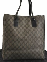 Authentic GUCCI Tote Bag GG PVC Leather Brown B9524 $190.00
