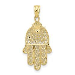 Real 10k Yellow Gold Hand Of God Pendant Women And Men