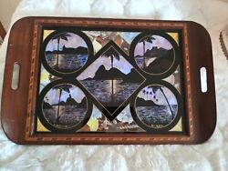 Vintage Tray Butterfly Wing Exotic Inlaid Wood Souvenir Of Rio De Janeiro Wall