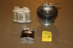 3 - Vintage Ronson Diana Marble Table And Pocket Lighter Rare W/ Flints
