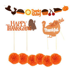 Happy Thanksgiving Banner Cupcake Picks Fall Harvest Party Home Decorations