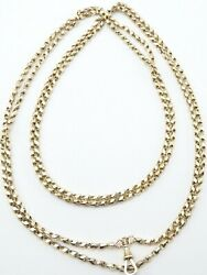 Antique 62 Inch 9ct Yellow Gold Muff Guard Watch Chain Necklace Weighs 37.2 Grms